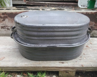 Vintage Graniteware Roasting Pan - Roasting Pan - Gray Roaster - Primitive Kitchen Roaster - Roaster - Turkey Roaster - Large Roasting Pan
