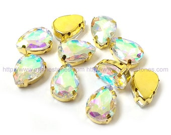 Crystal AB Sew On Pear Shape Fancy Stones in gold setting 10pcs
