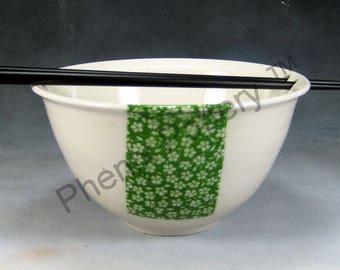 Noodle Bowl Porcelain Bowl 24 oz Green and White Chopstick Bowl, Pho Bowl, Rice Bowl, Soup Bowl, Stir Fry Bowl Hand Thrown Porcelain Pottery