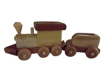 Wooden Train Bank,Train Coin Bank,Train Piggy Bank,Great Way to Teach Children About Saving Yet fun for Them to Play With