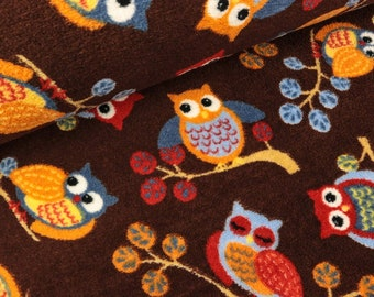 Kuschelfleece Owls on the branch on Dark Brown (11.90 EUR/meter)