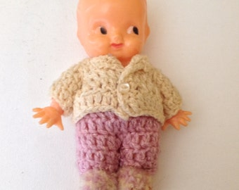 """Vintage 1950's """"Irwin"""" Plastic Kewpie Baby Doll with Movable Arms and Crocheted Outfit"""
