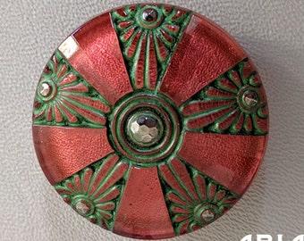 CZECH GLASS BUTTON: 36mm Pinwheel Floral Deco Medallion Handpainted Czech Glass Button, Pendant, Cabochon (1)