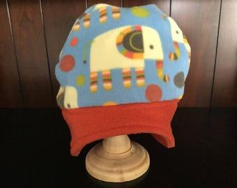 Child's elephant print fleece hat