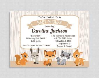 Woodland Baby Shower Invitation, Gender Neutral Shower Invite, Forest Animals, Fox, DIY PRINTABLE