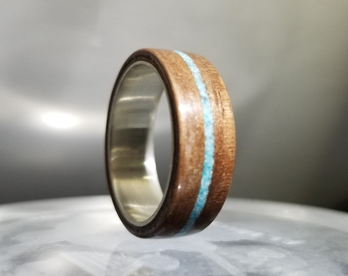 Walnut Bentwood Ring - Your choice of inlay - Engravable argentium core