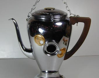 BIRDHOUSE CHROME COFFEEPOT Found Object   Folk Art  Assemblage Recycled Repurposed