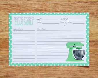 Personalized Mint Mixer Recipe Cards - Set of 12