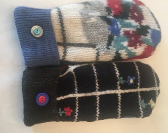 Wool Mitten made from Upcycled sweaters