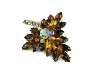 Brown Rhinestone Leaf Brooch