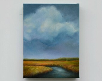 Marshland painting, original oil painting, cloud painting, landscape, original art - Into the Marsh