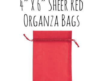 """10 or 25 Pack of 4 x 6"""" Rectangle Sheer Red Drawstring Ribbon Organza Bags, Wedding Favors, Gift Bags, Candy Bag, Red Bag, Wedding Supply"""