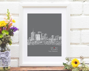Tulsa City Skyline Art, Tulsa Oklahoma Skyline, Wedding Decor, Personalized City Skyline, Engagement Gift, Guestbook - 8x10 Print