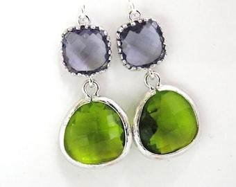 Glass Earrings, Green Earrings, Apple Green, Purple Earrings, Tanzanite, Silver, Bridesmaid Earrings, Bridal Jewelry, Bridesmaid Gifts