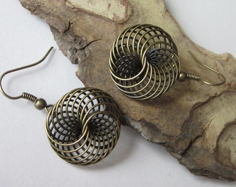 Twisted Spiral Earrings Wire Earrings Antiqued Brass Filigree Metal Spiral Dangle Round Shaped Abstract Geometric