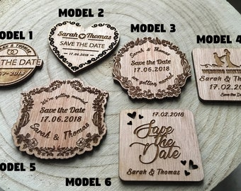 Engraved wooden invitation or save the date for wedding or celebration