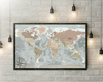 Antique World Map design created by a Professional Geographer/Cartographer
