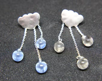 Clouds Raindrop earrings in 925 silver with mountain crystal or aquamarine
