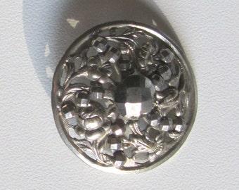 Antique Button Victorian Steel Cut Floral Antique Metal 1800s 1900s