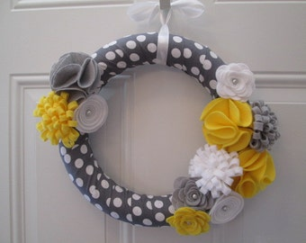 Spring Wreath, Yellow, Grey and White, Polka Dot Wreath, Felt Flower Wreath, Flower Wreath Door Wreath