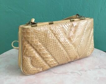vintage 70's snakeskin summer clutch handbag