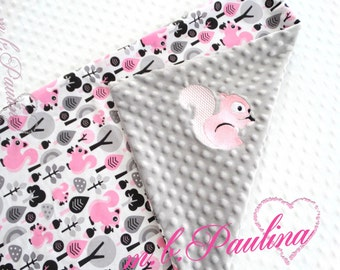 Squirrel Baby Blanket with squirrel stick and with cuddly grey plush Minky, personalization possible