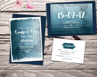 Blue and Silver Metallic Paint Printable Wedding Invitation Set
