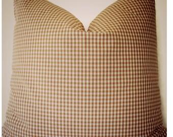 Brown Check Pillow Cover, Buffalo Check Brown Gingham Pillow Farmhouse Pillow Cover 0