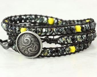 Black Wrap Bracelet Skinny Wrap Bracelet Black Leather Wrap Bracelet Boho Jewelry Bohemian Jewelry Yellow Bracelet Bold Fashion Speckled