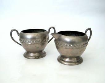 Vintage Creamer and Sugar Bowl Set, Silverplate or Pewter, Old Silver Sugar Bowl