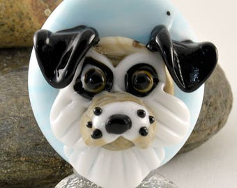DOG cameo portrait style dog sculpture, whimiscal focal glass lampwork bead, collectible dog bead, Izzybeads SRA