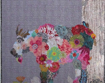 MarveLes PAPER PATTERN for Collage style Quilt Rocky Mountain Goat Flower  Pastel Wild Glacier Park  Montana