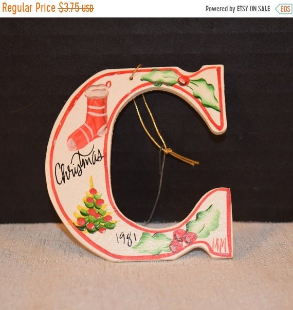 Delayed Shipping C for Christmas Wooden Painted Ornament Vintage Initial C dated 1981 Christmas Tree Decoration Christmas Collectible Stocki