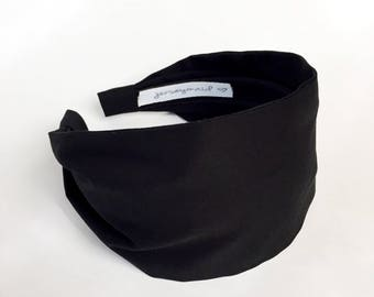 Black Headbands for women black  jerseymaid adult headband woman  Wide Black fabric Headband solid black headband extra wide cotton headband