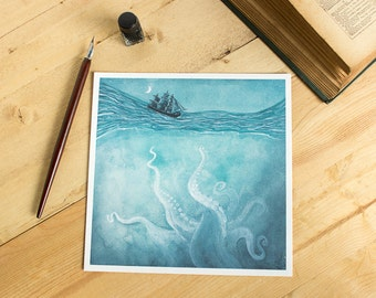Kraken Kills - whimsical sea illustration of a stormy sea, a ship, and a kraken from the depths of the ocean.