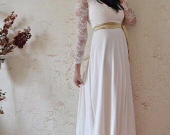 70s Boho Wedding Dress Maxi Bridal Dress Ivory Lace and Chiffon Wedding Gown Ivory Bridal Gown Bohemian Wedding Unique Boho Wedding Dress