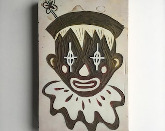 Hand Carved Linoleum Printing Block of Clown for hand-made invites, gift wrap, gift accessory