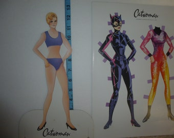 Rare Catwoman Paper Doll 15 Uncut Outfits, Michelle Pfeiffer Selina Kyle, Batman Returns Movie Collectible; Paperdoll 1992;  Collectible HTF