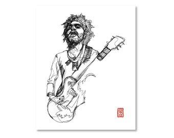 Lenny Kravitz/ Black and White / Fine Art Print / Giclee / Yokai Illustration / Artist Portrait Series / One Line / Continuous Line