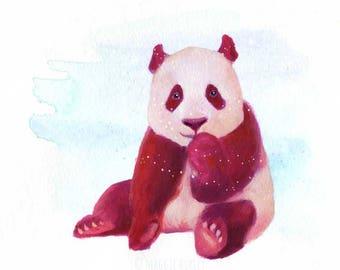 Pink Panda Watercolor Gouache Art