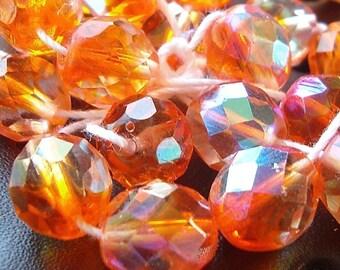 Czech Glass 10mm Pumpkin Orange Auroura Borealis  Faceted Rounds - 12 Pieces