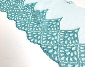 """BLUE, 7"""" Wide, Embroidered Lace Trim, BTY By The Yard"""