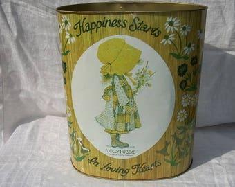 Vintage Wonderful Holly Hobbie Wastebasket Trash Can Cheinco American Greetings