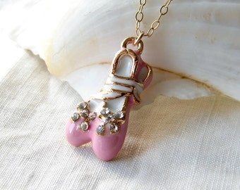 Little Ballerina. Pink Ballet Shoes Pendant 14K GF Chain. Gift for Her. Simple Modern jewelry