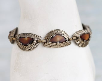 Boho Links Bracelet - Signed Miracle - Half Moon Shapes - Pretty Vintage Jewelry