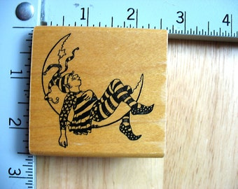 Hamilton Arts Jester on the Moon DESTASH Rubber Stamp, Used Rubberstamp, jester stamp