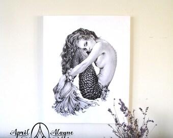 Mermaid- Illustration- Black and white- woman- portrait- fine art -siren