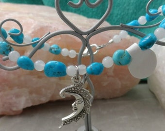 Nacozari Turquoise, Quartz Crystal Crescent Moon Bracelet.