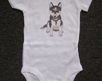 Cute Baby Bodysuit, Unique Baby clothes, UCONN Baby, Husky, Puppy, Dog, Huskies, Connecticut, Doggy, Pup, Girl, Boy