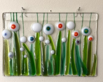 Fused glass wall hanging/suncatcher with white flowers